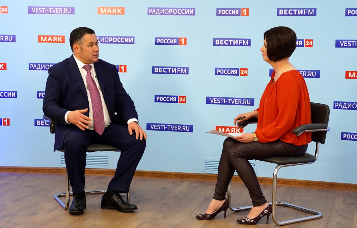 Игорь Руденя сегодня примет участие в прямом эфире «Россия 24» Тверь