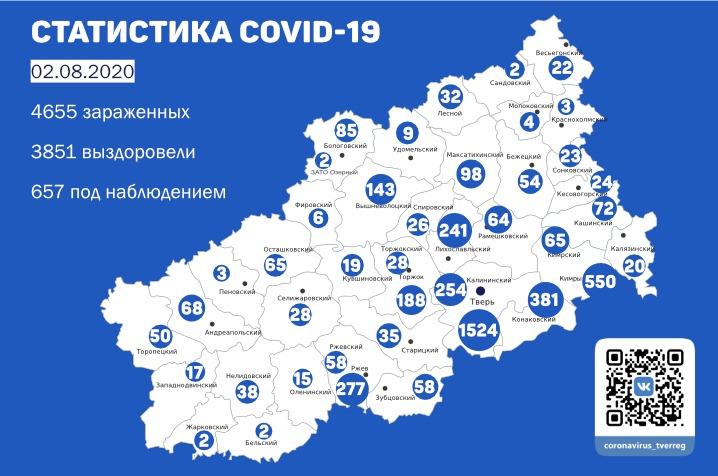 В Тверской области выявлены новые случаи заражения коронавирусом