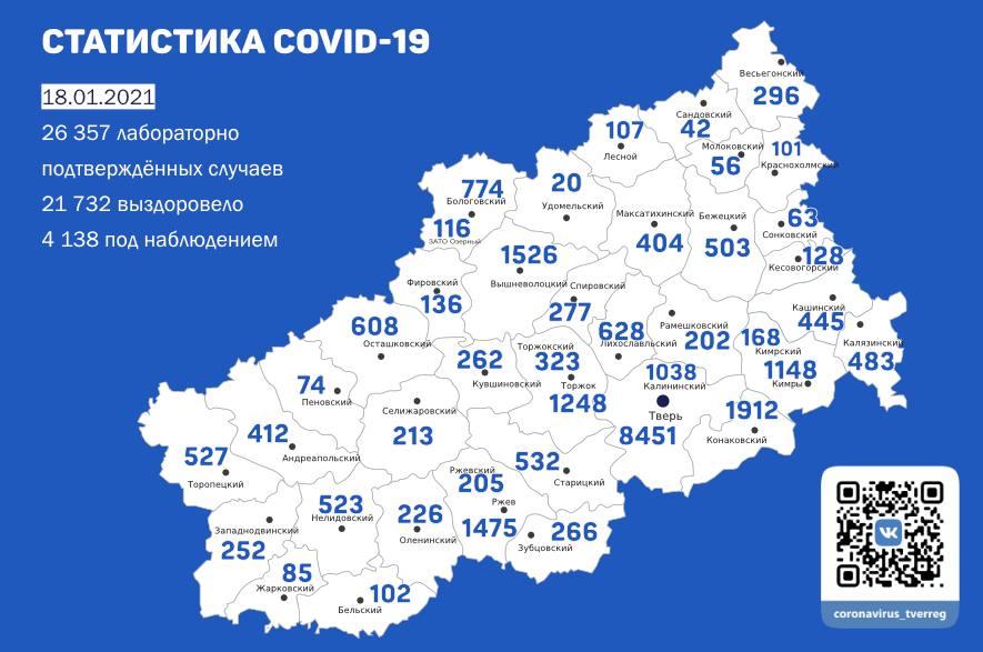 В Тверской области 18 января обновилась сводка по коронавирусу