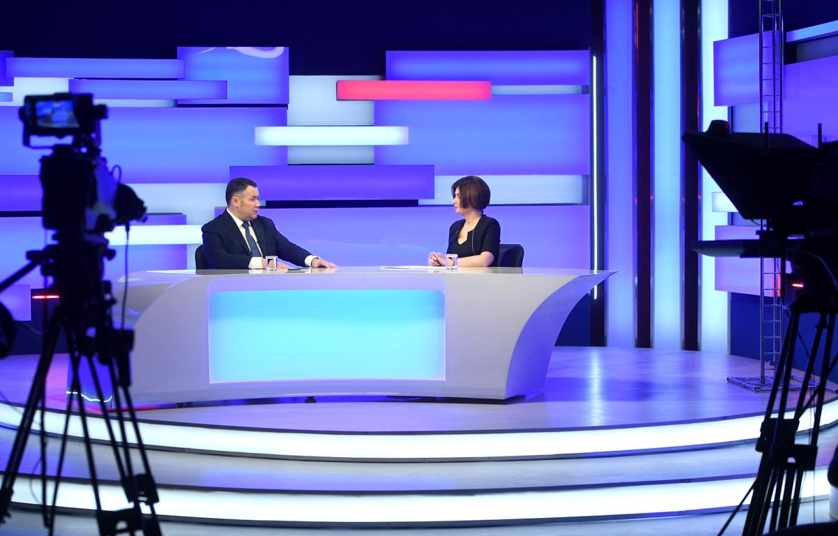 Тверской губернатор ответил на вопросы в прямом эфире телеканала «Россия-24» Тверь