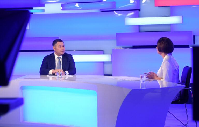Игорь Руденя в телеэфире ответил на вопросы тверичан